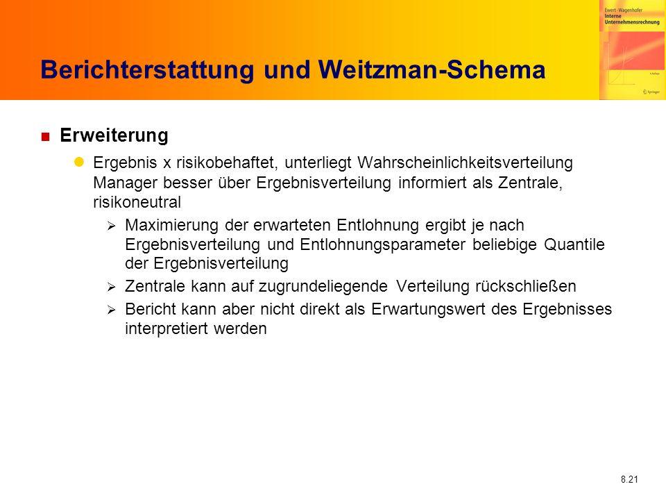 8.21 Berichterstattung und Weitzman-Schema n Erweiterung Ergebnis x risikobehaftet, unterliegt Wahrscheinlichkeitsverteilung Manager besser über Ergeb