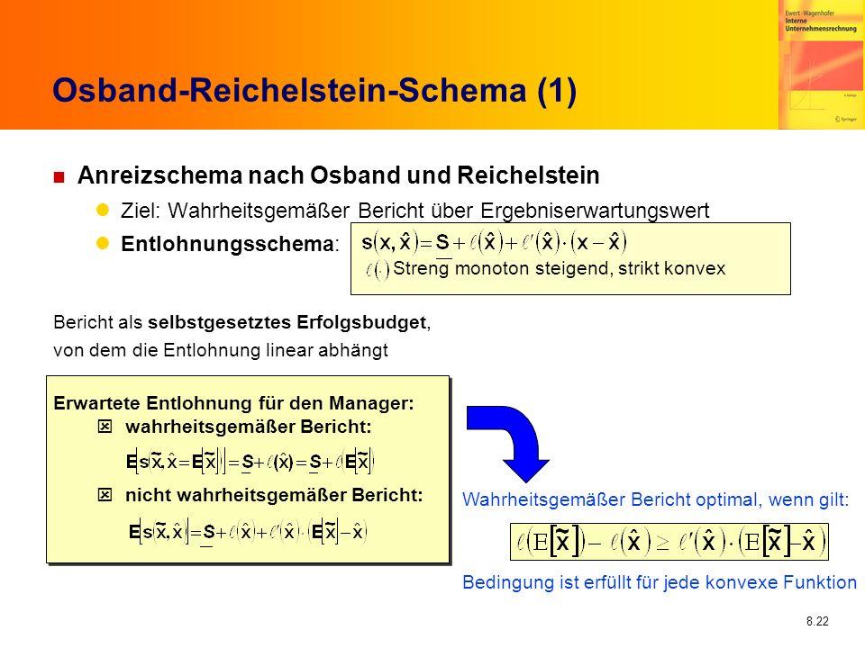 8.22 Osband-Reichelstein-Schema (1) n Anreizschema nach Osband und Reichelstein Ziel: Wahrheitsgemäßer Bericht über Ergebniserwartungswert Entlohnungs