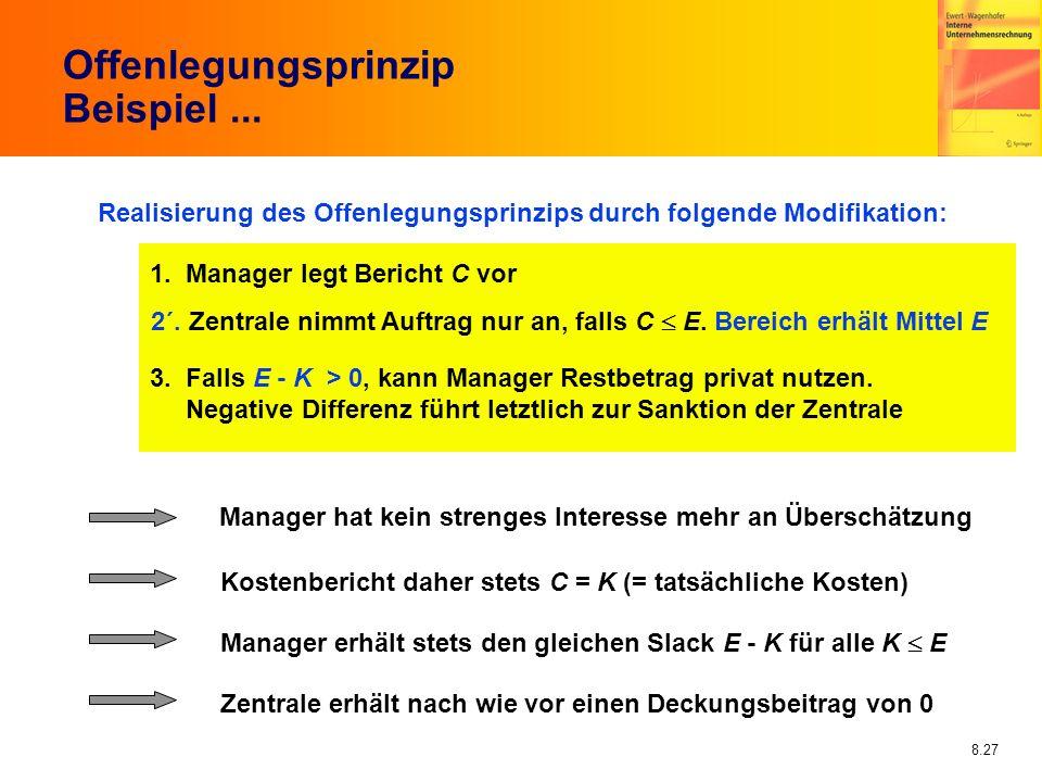8.27 Offenlegungsprinzip Beispiel... Realisierung des Offenlegungsprinzips durch folgende Modifikation: 1. Manager legt Bericht C vor 2´. Zentrale nim