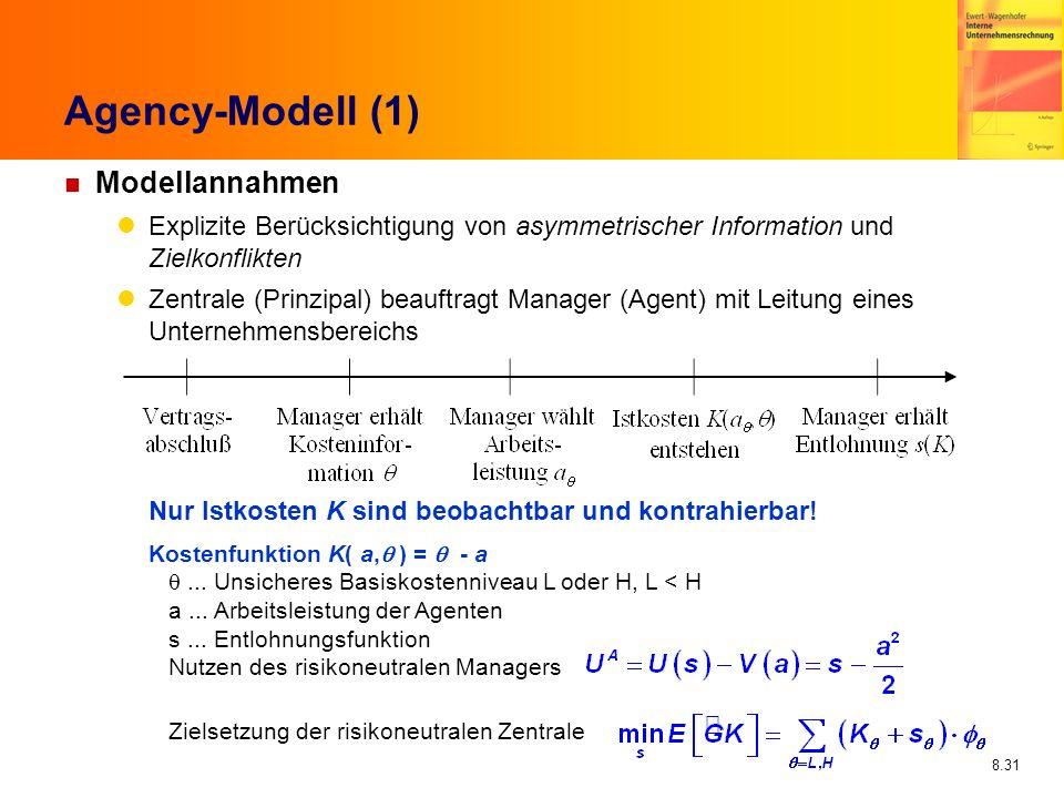 8.31 Agency-Modell (1) n Modellannahmen Explizite Berücksichtigung von asymmetrischer Information und Zielkonflikten Zentrale (Prinzipal) beauftragt M