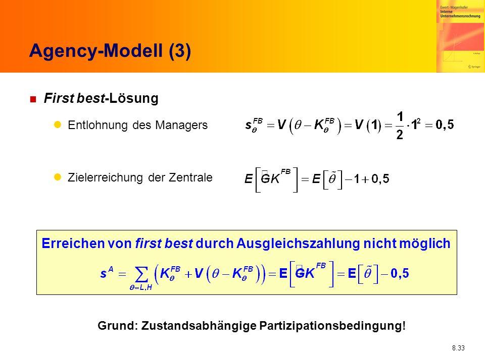 8.33 Agency-Modell (3) n First best-Lösung Entlohnung des Managers Zielerreichung der Zentrale Erreichen von first best durch Ausgleichszahlung nicht