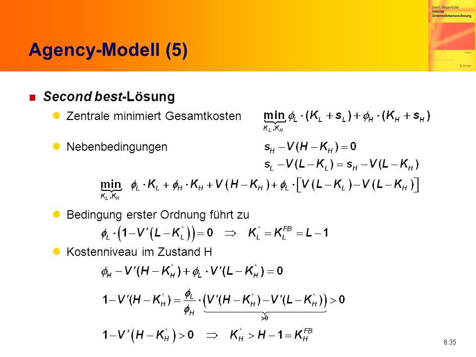 8.35 Agency-Modell (5) n Second best-Lösung Zentrale minimiert Gesamtkosten Nebenbedingungen Bedingung erster Ordnung führt zu Kostenniveau im Zustand
