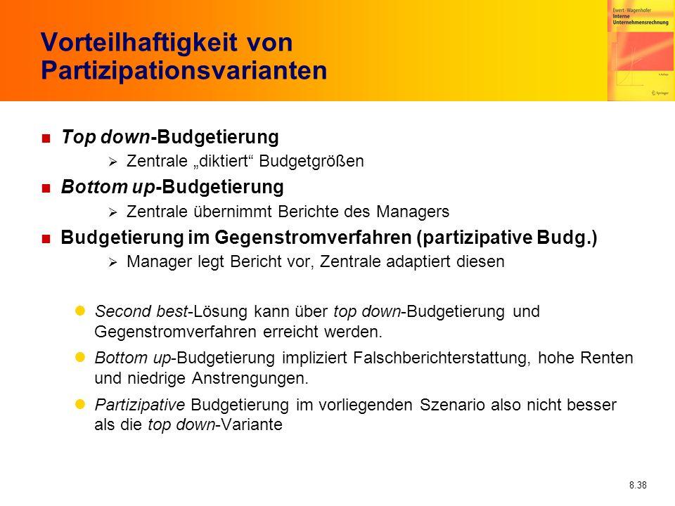 8.38 Vorteilhaftigkeit von Partizipationsvarianten n Top down-Budgetierung Zentrale diktiert Budgetgrößen n Bottom up-Budgetierung Zentrale übernimmt