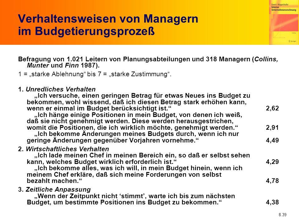 8.39 Verhaltensweisen von Managern im Budgetierungsprozeß Befragung von 1.021 Leitern von Planungsabteilungen und 318 Managern (Collins, Munter und Fi