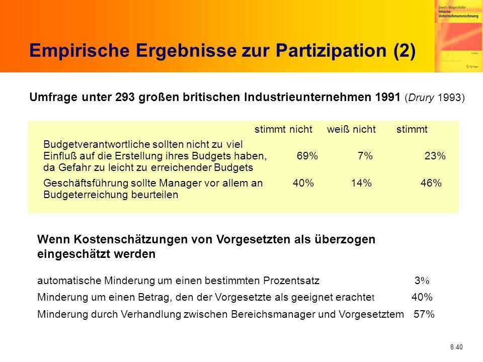 8.40 Empirische Ergebnisse zur Partizipation (2) Umfrage unter 293 großen britischen Industrieunternehmen 1991 (Drury 1993) stimmt nicht weiß nicht st