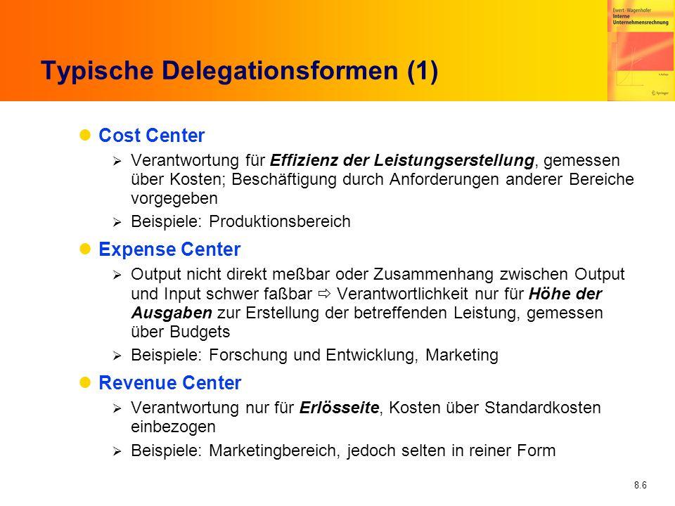 8.6 Typische Delegationsformen (1) Cost Center Verantwortung für Effizienz der Leistungserstellung, gemessen über Kosten; Beschäftigung durch Anforder