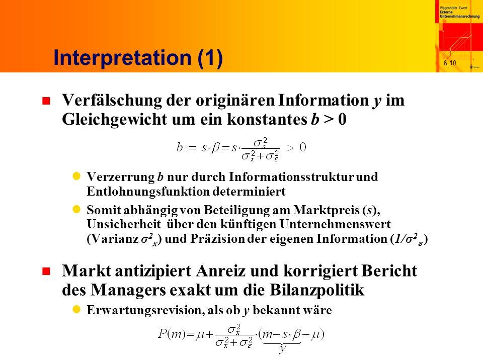6.10 Interpretation (1) n Verfälschung der originären Information y im Gleichgewicht um ein konstantes b > 0 Verzerrung b nur durch Informationsstrukt