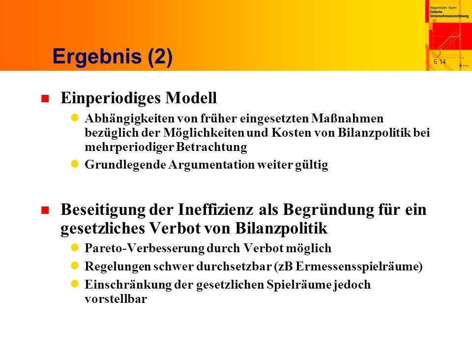 6.14 Ergebnis (2) n Einperiodiges Modell Abhängigkeiten von früher eingesetzten Maßnahmen bezüglich der Möglichkeiten und Kosten von Bilanzpolitik bei