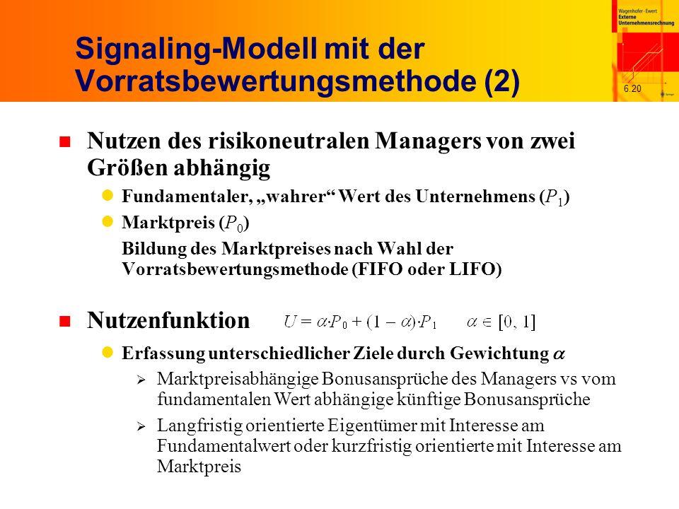 6.20 Signaling-Modell mit der Vorratsbewertungsmethode (2) n Nutzen des risikoneutralen Managers von zwei Größen abhängig Fundamentaler, wahrer Wert d