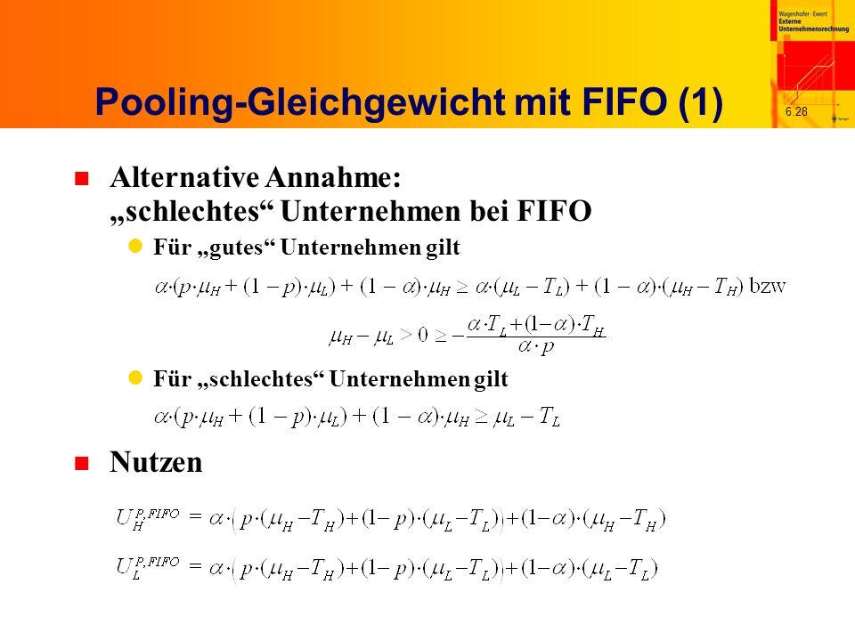 6.28 n Alternative Annahme: schlechtes Unternehmen bei FIFO Für gutes Unternehmen gilt Für schlechtes Unternehmen gilt Pooling-Gleichgewicht mit FIFO