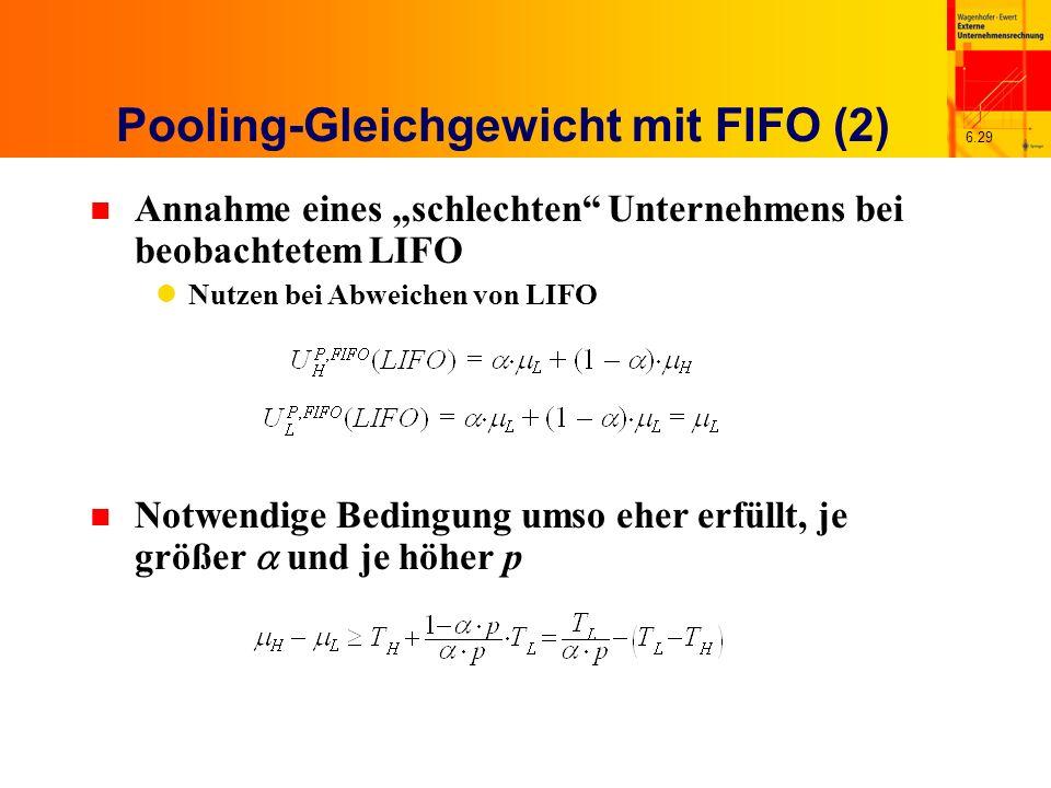 6.29 Pooling-Gleichgewicht mit FIFO (2) n Annahme eines schlechten Unternehmens bei beobachtetem LIFO Nutzen bei Abweichen von LIFO Notwendige Bedingu