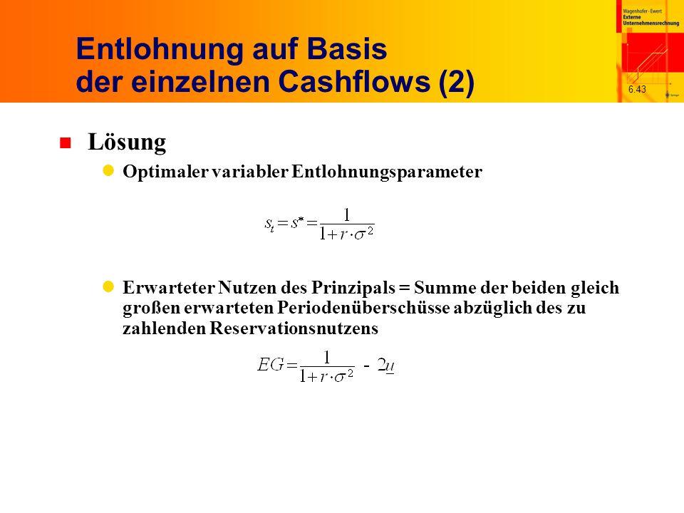 6.43 Entlohnung auf Basis der einzelnen Cashflows (2) n Lösung Optimaler variabler Entlohnungsparameter Erwarteter Nutzen des Prinzipals = Summe der b