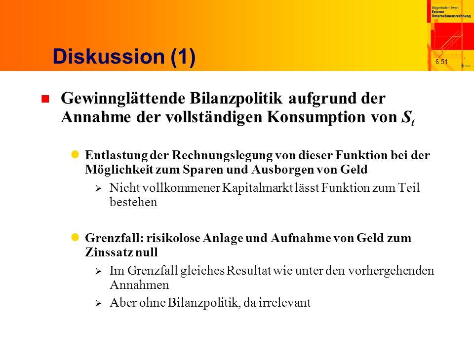 6.51 Diskussion (1) n Gewinnglättende Bilanzpolitik aufgrund der Annahme der vollständigen Konsumption von S t Entlastung der Rechnungslegung von dies