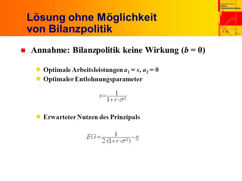 6.54 Lösung ohne Möglichkeit von Bilanzpolitik n Annahme: Bilanzpolitik keine Wirkung (b = 0) Optimale Arbeitsleistungen a 1 = s, a 2 = 0 Optimaler En