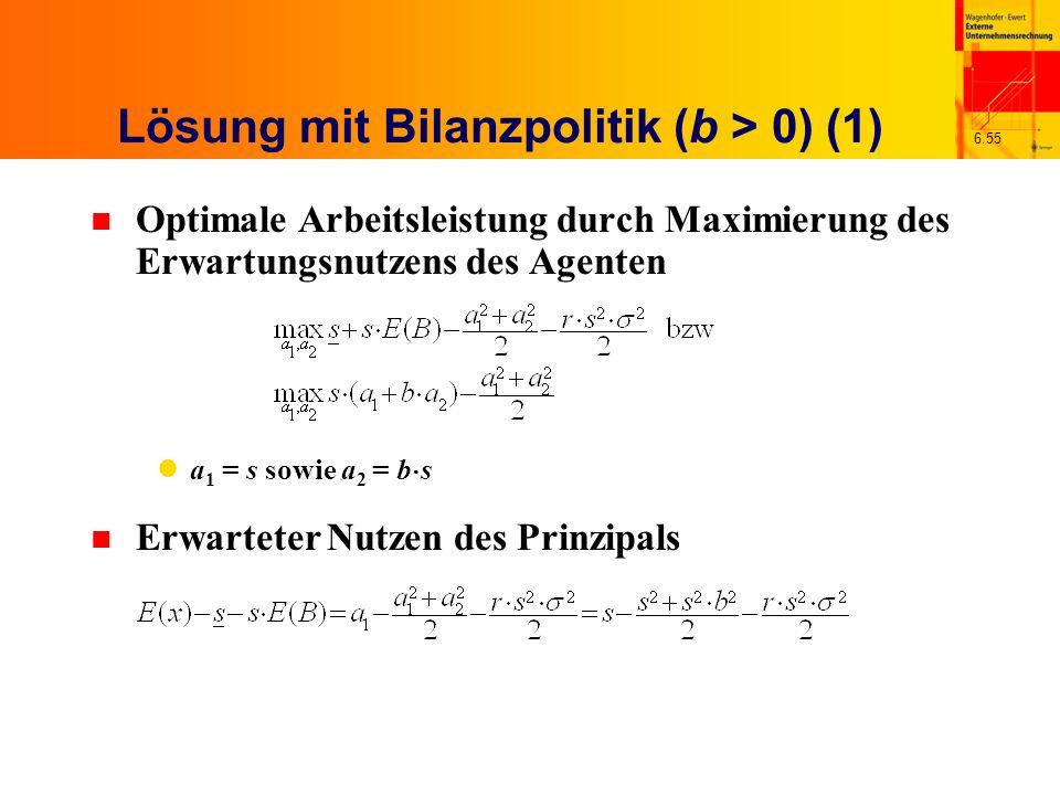 6.55 Lösung mit Bilanzpolitik (b > 0) (1) n Optimale Arbeitsleistung durch Maximierung des Erwartungsnutzens des Agenten a 1 = s sowie a 2 = b s n Erw