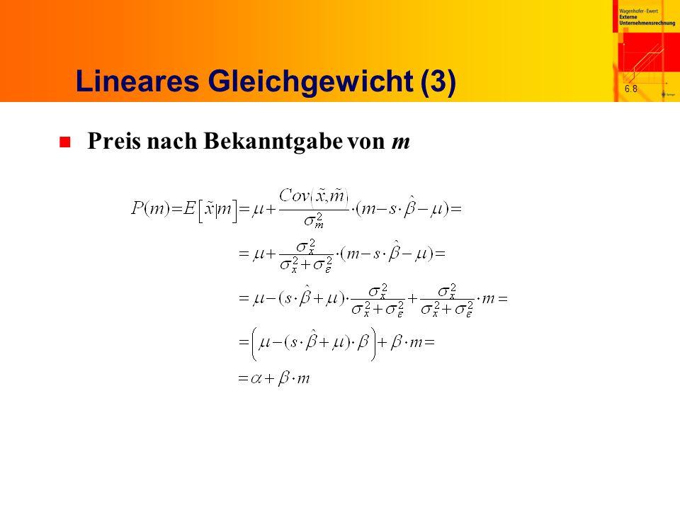 6.49 Eigenschaften der optimalen Bilanzpolitik n Optimale Bilanzpolitik unter Berücksichtigung von a 1 = s Mit Gewinn als Cashflow x 1 abzüglich Betrag b(x 1 ) n Bei positivem Cashflow gewinnmindernde Periodenabgrenzung, bei negativem umgekehrt (Gewinnglättung) b(x 1 ) steigt linear in x 1 mit einer Rate von 0,5 Erwartungswert der Bilanzpolitik vor Kenntnis von x 1 positiv, nämlich r s 2 /4 – ex ante asymmetrische Glättung