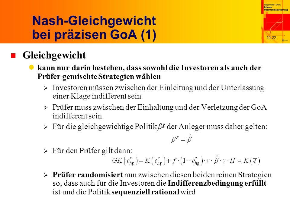 10.22 Nash-Gleichgewicht bei präzisen GoA (1) n Gleichgewicht kann nur darin bestehen, dass sowohl die Investoren als auch der Prüfer gemischte Strategien wählen Investoren müssen zwischen der Einleitung und der Unterlassung einer Klage indifferent sein Prüfer muss zwischen der Einhaltung und der Verletzung der GoA indifferent sein Für den Prüfer gilt dann: Prüfer randomisiert nun zwischen diesen beiden reinen Strategien so, dass auch für die Investoren die Indifferenzbedingung erfüllt ist und die Politik sequenziell rational wird Für die gleichgewichtige Politik ß g der Anleger muss daher gelten: