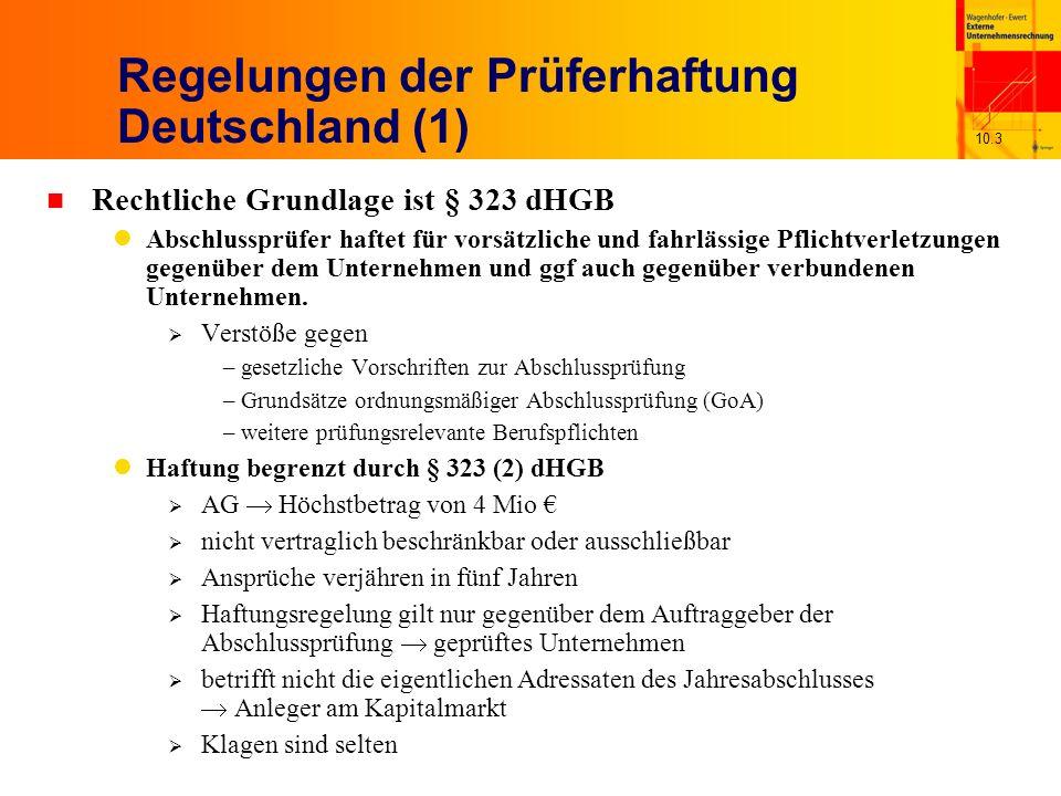 10.4 Regelungen der Prüferhaftung Deutschland (2) n Dritthaftung von Abschlussprüfern für Schadenersatzansprüche gegenüber Anlegern allgemeine deliktsrechtliche Regelungen in § 823 (2) und § 826 dBGB Aber: Anleger müsste Prüfer vorsätzliches Handeln nachweisen über Vertragsrecht Aber: Anleger gehört nicht zu den vertragsschließenden Parteien spezifische Konstrukte Vertrag mit Schutzwirkung zugunsten Dritter Lebhafte Diskussion, ob Dritthaftung von Abschlussprüfern explizit in Rechtssprechung aufgenommen werden soll n Rechtslage in Österreich ähnlich wie in Deutschland