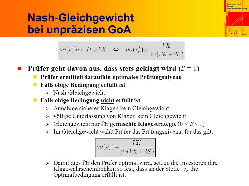 10.33 Nash-Gleichgewicht bei unpräzisen GoA n Prüfer geht davon aus, dass stets geklagt wird (ß = 1) Prüfer ermittelt daraufhin optimales Prüfungsniveau Falls obige Bedingung erfüllt ist Nash-Gleichgewicht Falls obige Bedingung nicht erfüllt ist Annahme sicherer Klagen kein Gleichgewicht völlige Unterlassung von Klagen kein Gleichgewicht Gleichgewicht nur für gemischte Klagestrategie (0 < < 1) Im Gleichgewicht wählt Prüfer das Prüfungsniveau, für das gilt: Damit dies für den Prüfer optimal wird, setzen die Investoren ihre Klagewahrscheinlichkeit so fest, dass an der Stelle die Optimalbedingung erfüllt ist.
