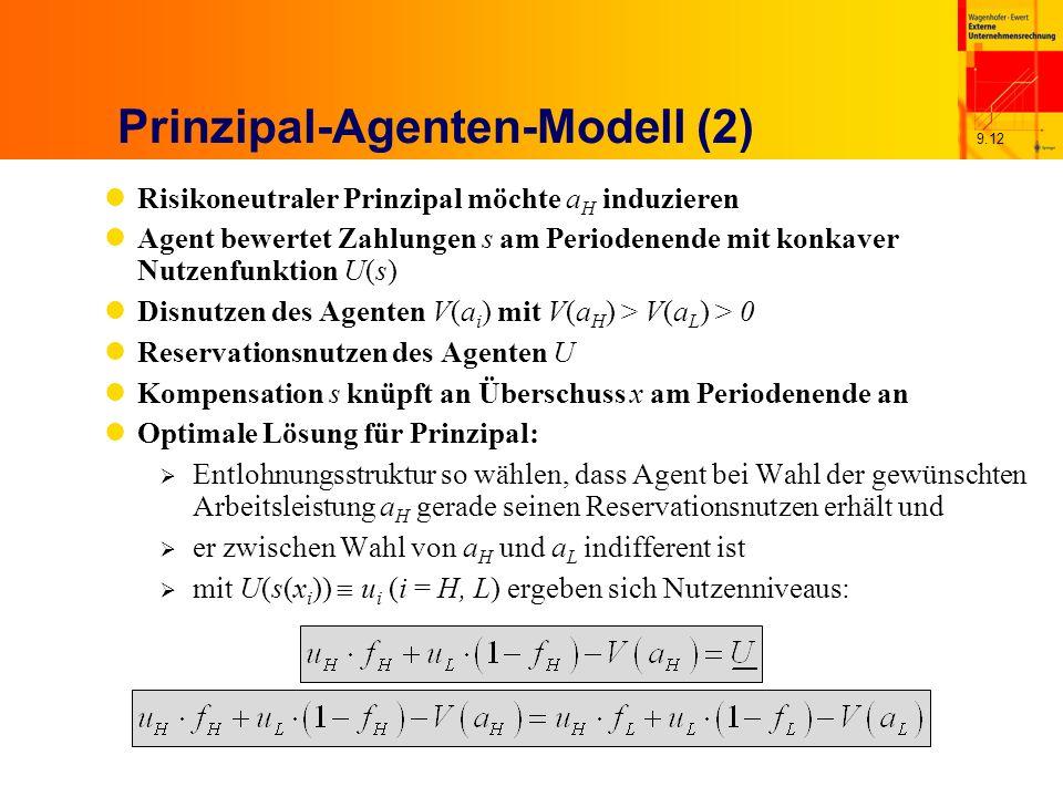 9.12 Prinzipal-Agenten-Modell (2) Risikoneutraler Prinzipal möchte a H induzieren Agent bewertet Zahlungen s am Periodenende mit konkaver Nutzenfunktion U(s) Disnutzen des Agenten V(a i ) mit V(a H ) > V(a L ) > 0 Reservationsnutzen des Agenten U Kompensation s knüpft an Überschuss x am Periodenende an Optimale Lösung für Prinzipal: Entlohnungsstruktur so wählen, dass Agent bei Wahl der gewünschten Arbeitsleistung a H gerade seinen Reservationsnutzen erhält und er zwischen Wahl von a H und a L indifferent ist mit U(s(x i )) u i (i = H, L) ergeben sich Nutzenniveaus: