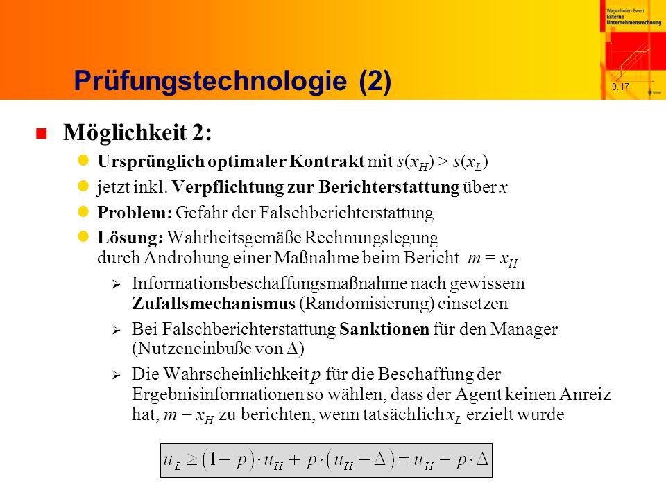 9.17 Prüfungstechnologie (2) n Möglichkeit 2: Ursprünglich optimaler Kontrakt mit s(x H ) > s(x L ) jetzt inkl.