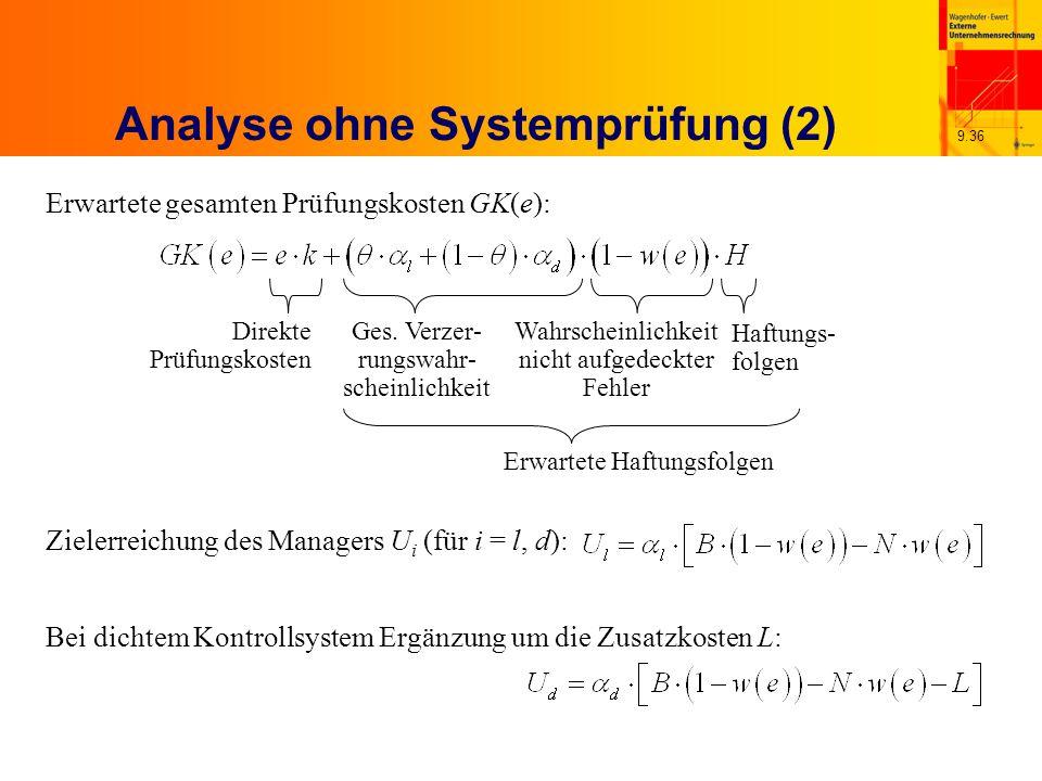 9.36 Analyse ohne Systemprüfung (2) Zielerreichung des Managers U i (für i = l, d): Bei dichtem Kontrollsystem Ergänzung um die Zusatzkosten L: Erwartete gesamten Prüfungskosten GK(e): Ges.