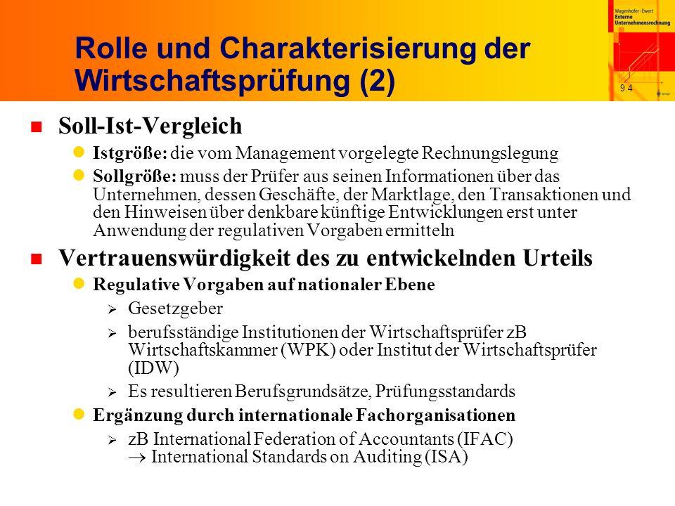 9.4 Rolle und Charakterisierung der Wirtschaftsprüfung (2) n Soll-Ist-Vergleich Istgröße: die vom Management vorgelegte Rechnungslegung Sollgröße: muss der Prüfer aus seinen Informationen über das Unternehmen, dessen Geschäfte, der Marktlage, den Transaktionen und den Hinweisen über denkbare künftige Entwicklungen erst unter Anwendung der regulativen Vorgaben ermitteln n Vertrauenswürdigkeit des zu entwickelnden Urteils Regulative Vorgaben auf nationaler Ebene Gesetzgeber berufsständige Institutionen der Wirtschaftsprüfer zB Wirtschaftskammer (WPK) oder Institut der Wirtschaftsprüfer (IDW) Es resultieren Berufsgrundsätze, Prüfungsstandards Ergänzung durch internationale Fachorganisationen zB International Federation of Accountants (IFAC) International Standards on Auditing (ISA)