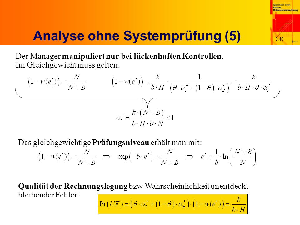 9.40 Analyse ohne Systemprüfung (5) Der Manager manipuliert nur bei lückenhaften Kontrollen.