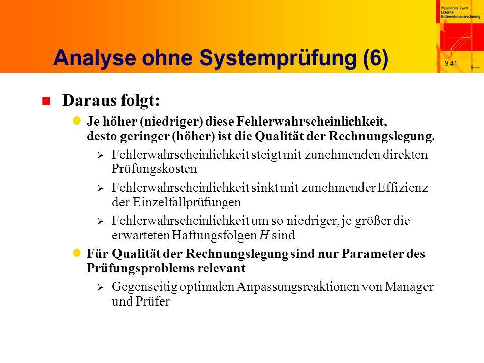 9.41 Analyse ohne Systemprüfung (6) n Daraus folgt: Je höher (niedriger) diese Fehlerwahrscheinlichkeit, desto geringer (höher) ist die Qualität der Rechnungslegung.