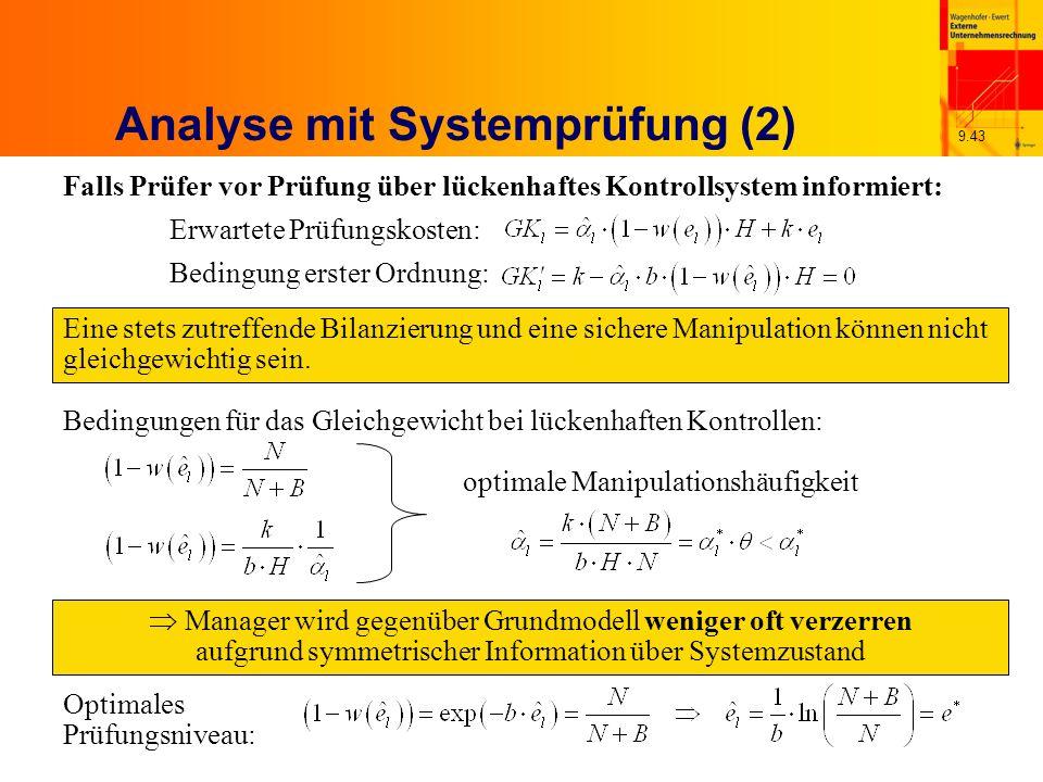 9.43 Analyse mit Systemprüfung (2) Falls Prüfer vor Prüfung über lückenhaftes Kontrollsystem informiert: Erwartete Prüfungskosten: Bedingung erster Ordnung: Eine stets zutreffende Bilanzierung und eine sichere Manipulation können nicht gleichgewichtig sein.