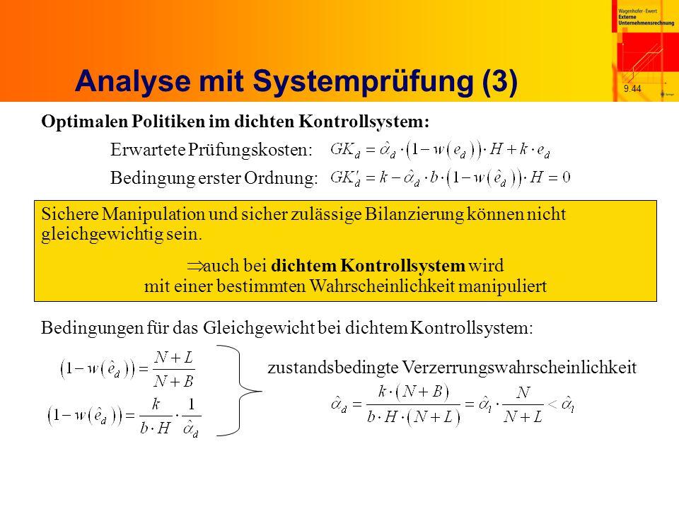 9.44 Analyse mit Systemprüfung (3) Optimalen Politiken im dichten Kontrollsystem: Erwartete Prüfungskosten: Bedingung erster Ordnung: Sichere Manipulation und sicher zulässige Bilanzierung können nicht gleichgewichtig sein.