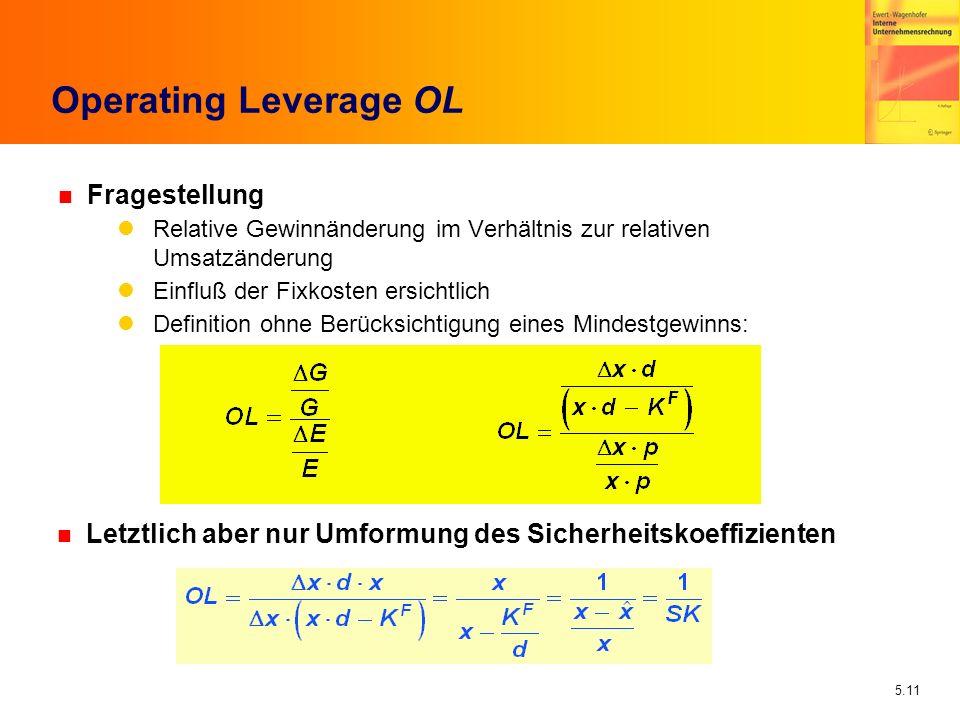 5.11 Operating Leverage OL n Fragestellung Relative Gewinnänderung im Verhältnis zur relativen Umsatzänderung Einfluß der Fixkosten ersichtlich Defini