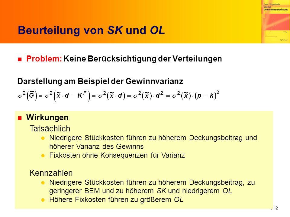 5.12 Beurteilung von SK und OL n Problem: Keine Berücksichtigung der Verteilungen Darstellung am Beispiel der Gewinnvarianz n Wirkungen Tatsächlich Ni