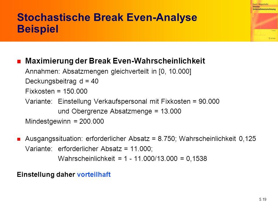 5.19 Stochastische Break Even-Analyse Beispiel n Maximierung der Break Even-Wahrscheinlichkeit Annahmen: Absatzmengen gleichverteilt in [0, 10.000] De