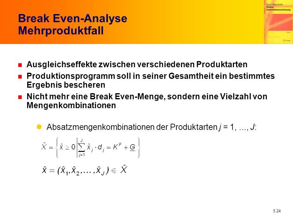5.24 Break Even-Analyse Mehrproduktfall n Ausgleichseffekte zwischen verschiedenen Produktarten n Produktionsprogramm soll in seiner Gesamtheit ein be