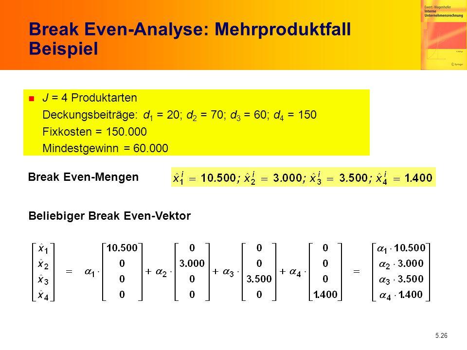 5.26 n J = 4 Produktarten Deckungsbeiträge: d 1 = 20; d 2 = 70; d 3 = 60; d 4 = 150 Fixkosten = 150.000 Mindestgewinn = 60.000 Break Even-Analyse: Meh