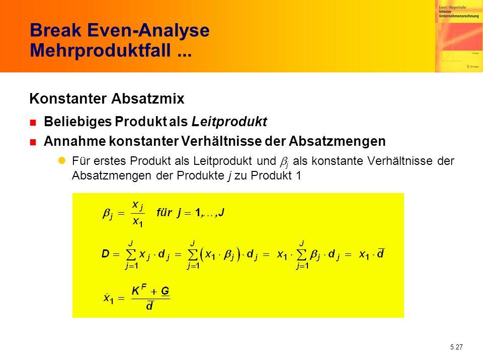 5.27 Break Even-Analyse Mehrproduktfall... Konstanter Absatzmix n Beliebiges Produkt als Leitprodukt n Annahme konstanter Verhältnisse der Absatzmenge
