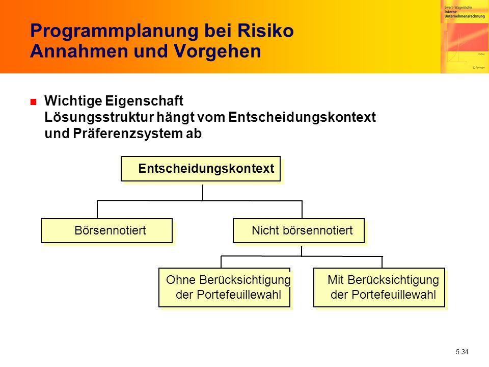5.34 Programmplanung bei Risiko Annahmen und Vorgehen n Wichtige Eigenschaft Lösungsstruktur hängt vom Entscheidungskontext und Präferenzsystem ab Ent