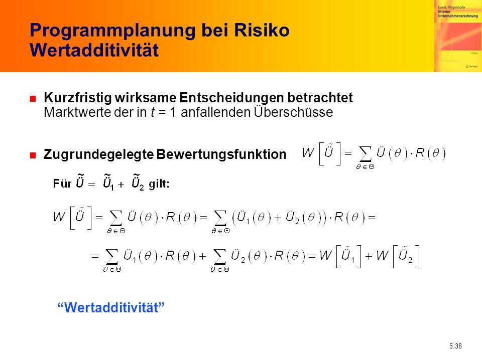 5.38 Programmplanung bei Risiko Wertadditivität n Kurzfristig wirksame Entscheidungen betrachtet Marktwerte der in t = 1 anfallenden Überschüsse n Zug