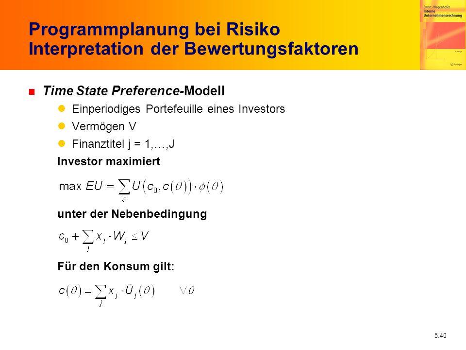 5.40 Programmplanung bei Risiko Interpretation der Bewertungsfaktoren n Time State Preference-Modell Einperiodiges Portefeuille eines Investors Vermög