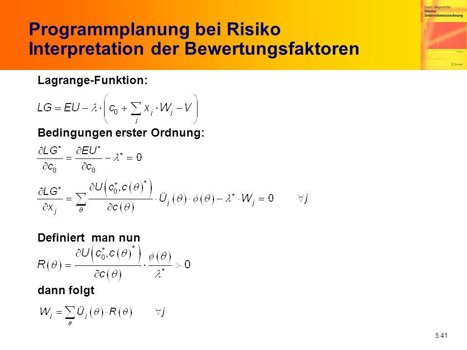 5.41 Programmplanung bei Risiko Interpretation der Bewertungsfaktoren Lagrange-Funktion: Bedingungen erster Ordnung: Definiert man nun dann folgt