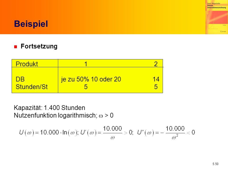 5.50 Beispiel n Fortsetzung Produkt 1 2 DBje zu 50% 10 oder 2014 Stunden/St5 5 Kapazität: 1.400 Stunden Nutzenfunktion logarithmisch; > 0