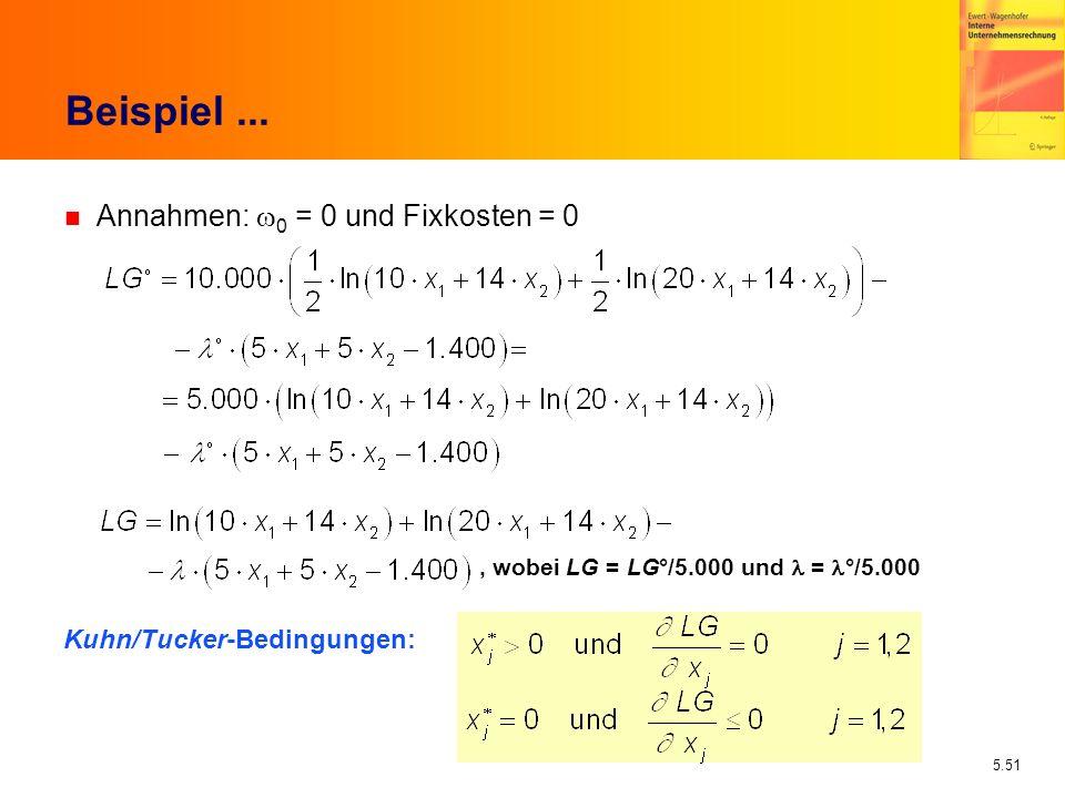 5.51 Beispiel... Annahmen: 0 = 0 und Fixkosten = 0, wobei LG = LG°/5.000 und = °/5.000 Kuhn/Tucker-Bedingungen: