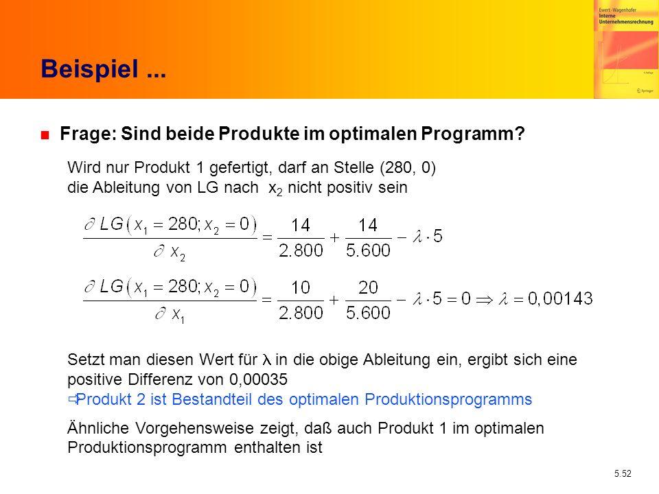 5.52 Beispiel... n Frage: Sind beide Produkte im optimalen Programm? Wird nur Produkt 1 gefertigt, darf an Stelle (280, 0) die Ableitung von LG nach x