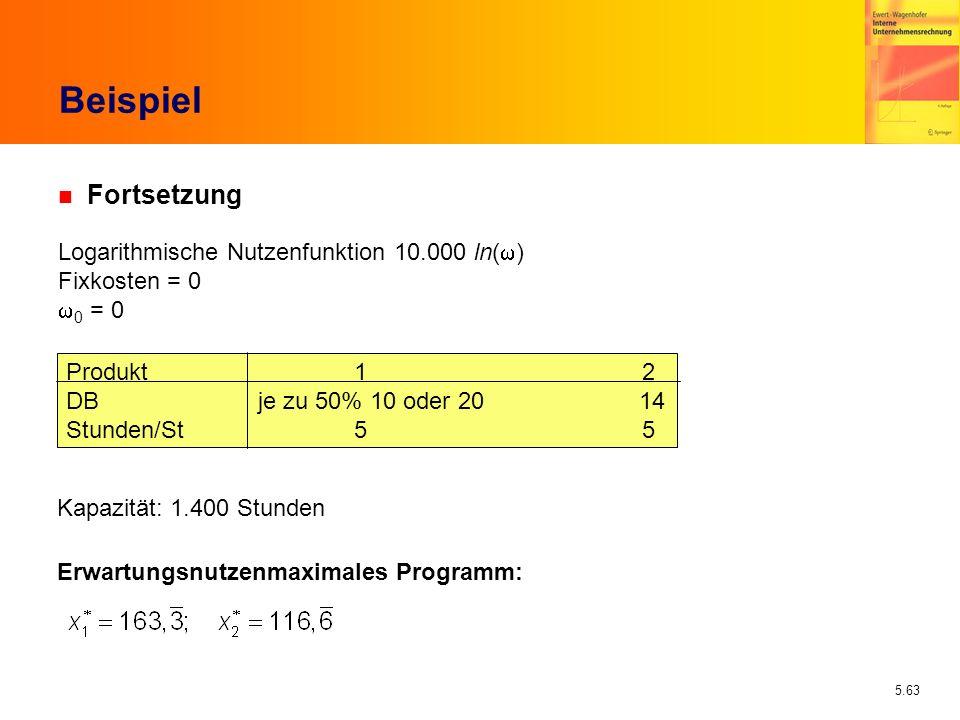 5.63 Beispiel n Fortsetzung Logarithmische Nutzenfunktion 10.000 ln( ) Fixkosten = 0 0 = 0 Produkt12 DBje zu 50% 10 oder 20 14 Stunden/St55 Kapazität: