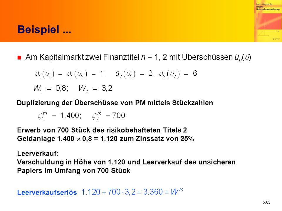5.65 Beispiel... Am Kapitalmarkt zwei Finanztitel n = 1, 2 mit Überschüssen ü n ( ) Duplizierung der Überschüsse von PM mittels Stückzahlen Erwerb von
