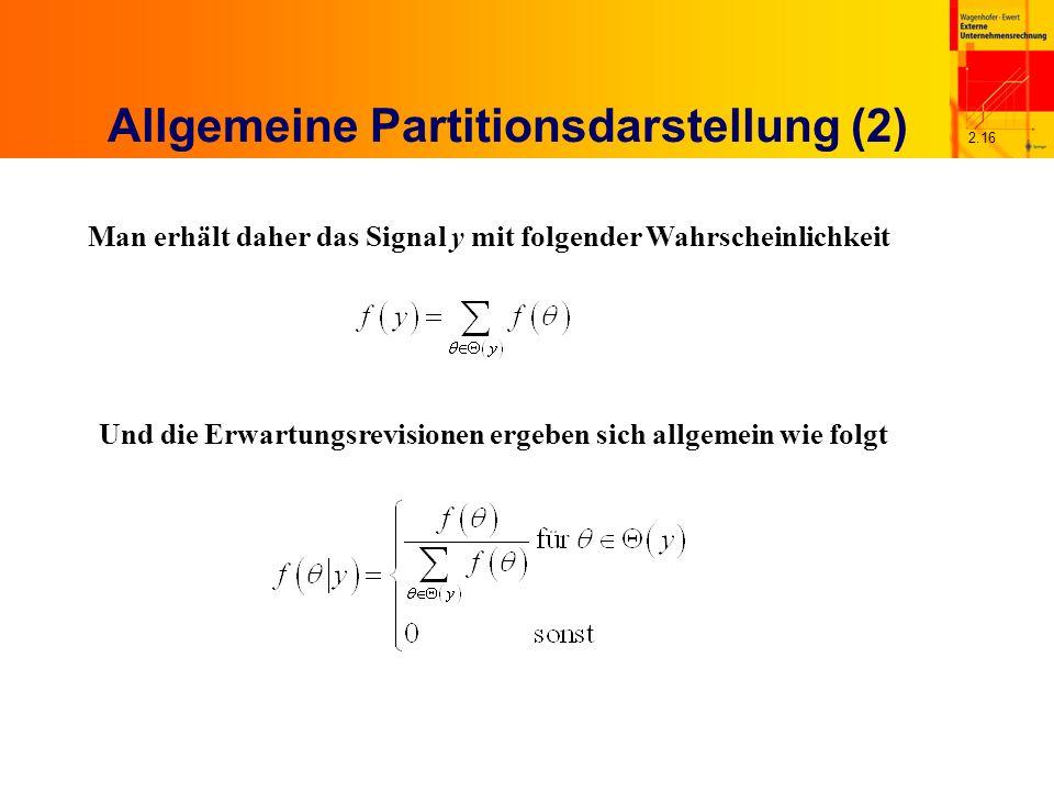 2.16 Allgemeine Partitionsdarstellung (2) Man erhält daher das Signal y mit folgender Wahrscheinlichkeit Und die Erwartungsrevisionen ergeben sich allgemein wie folgt