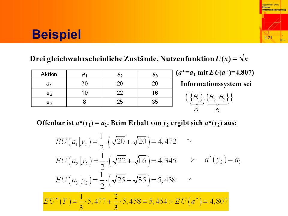 2.21 Beispiel Drei gleichwahrscheinliche Zustände, Nutzenfunktion U(x) = x (a*=a 1 mit EU(a*)=4,807) Informationssystem sei Offenbar ist a*(y 1 ) = a 1.