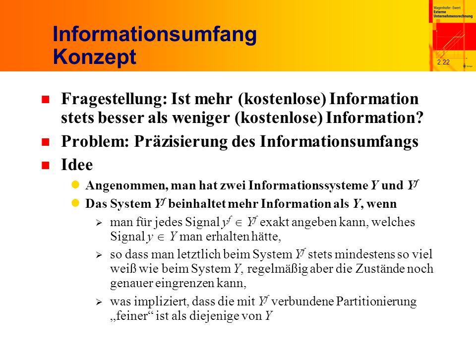 2.22 Informationsumfang Konzept n Fragestellung: Ist mehr (kostenlose) Information stets besser als weniger (kostenlose) Information.