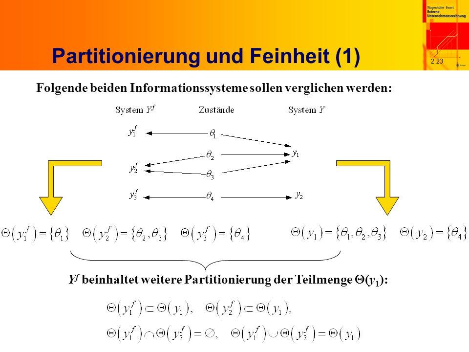 2.23 Partitionierung und Feinheit (1) Folgende beiden Informationssysteme sollen verglichen werden: Y f beinhaltet weitere Partitionierung der Teilmenge (y 1 ):